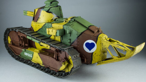 French Light Tank Renault FT Char Canon Girod Turret by Takom-2